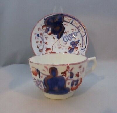 Antique Allertons Gaudy Welsh Cup And Saucer Oyster Pattern • 12£