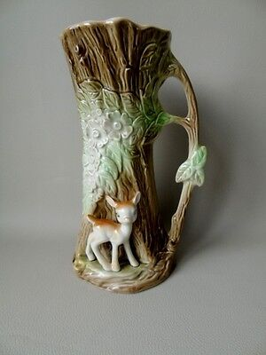 1960's Eastgate Pottery Tree Jug Vase With Applied Fawn - Woodland Decoration • 34.99£