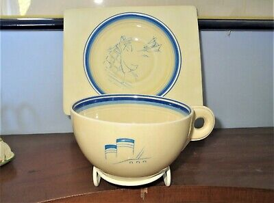 Clarice Cliff Very Art Deco And Unusual Blue Biarritz Shape Cruiseware • 50£
