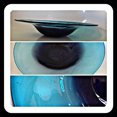 Beautiful Very Large Blue Glass  Fruit Bowl.Table Art Piece 13x2.5 Inch 1.6kg • 29.99£