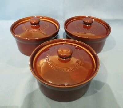 Pearsons Of Chesterfield Stoneware Casserole Pot With Lid Brown X 3 • 10£