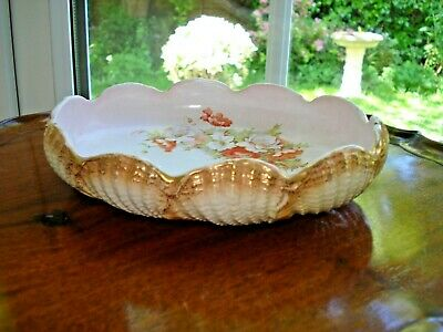 Victorian Grimwade Pottery - Oval Shell Dish Floral Decoration 1890 - 1901 Rare? • 7.99£
