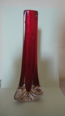 Whitefriars Ruby Red Glass Three Sided Vase, By Geoffrey Baxter, Pattern No 9570 • 19.95£
