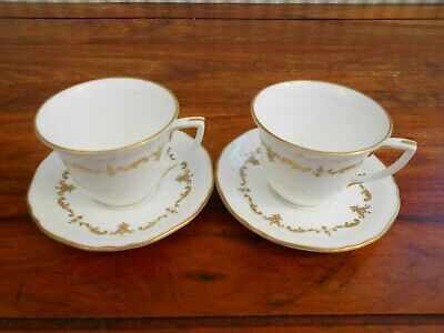 Royal Worcester  Gold Chantilly  English Bone China Pair Coffee Cups & Saucers. • 9.99£