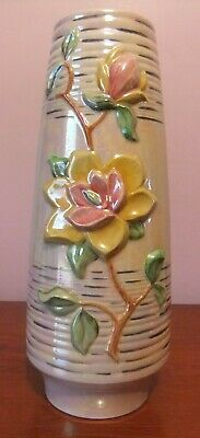 Tall ROYAL WINTON Lustre Vase With Embossed Flower Design, Approx. 13  Tall • 18£