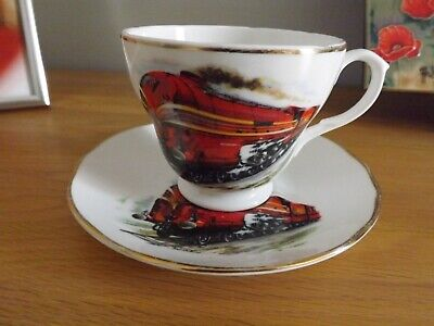 Liverpool Road Pottery  Vintage  Cup & Saucers RED Steam Train Pattern. • 3.50£