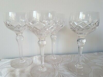 Vintage Stuart Crystal Wine Hock Glasses England X 4 Set SIGNED • 24£