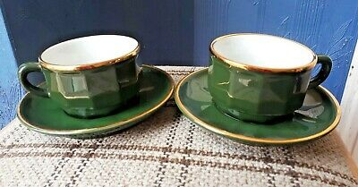 Genuine Apilco Green And Gold Bistro Small Coffee Cups And Saucers X 2 • 10£