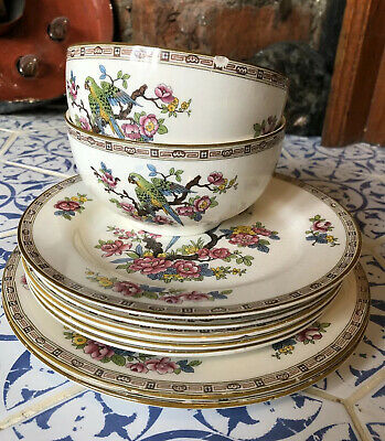 Vintage Crown Ducal 1059 Floral Parrot X7 Plates And X2 Bowls British Table Ware • 15£