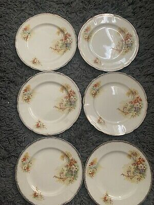 Set Of 6 Rare Vintage Alfred Meakin Royal Marigold  Plates With Boats • 9.99£