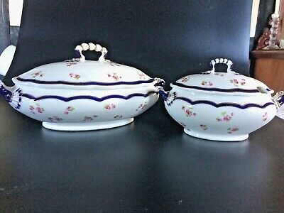 Two Antique Tureens - Vegetable And Sauce - George Jones China • 19.99£