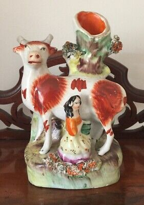 Unusual Victorian Miniature Staffordshire Figurine Of A Milkmaid And A Cow • 75£