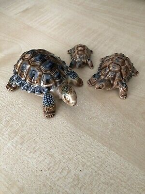 Wade Porcelain Tortoises 3 Tortoise Bundle Set Figurine Ornament • 12£