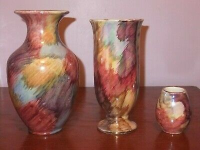 Collection Of Oldcourt Ware Vases, Mixed Colour Pattern, C 1955+ • 18£
