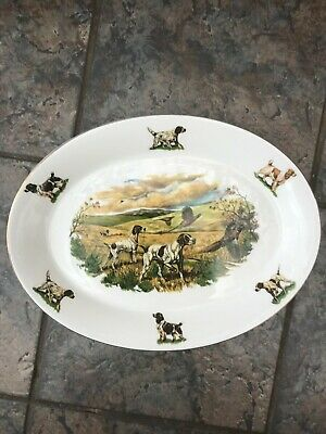Hunting Dogs & Pheasants Large Oval Platter Dish Plate • 22£