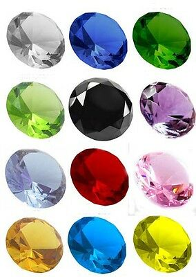 Crystal Diamond Shape Paperweight Glass Gem Display Ornament Home Display Office • 11.99£