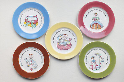 Fun Vintage French Proverb / Motto Plates (5) France Francophile • 24.56£