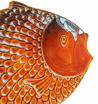 Retro SylvaC Brown Fish Serving Plate Ceramic 4685 Vintage England Kitchenalia  • 19.99£
