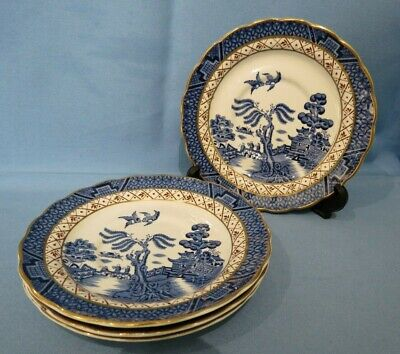 Vintage Booths Real Old Willow A8025 Saucer X 4 15.5cm - VGC • 10£