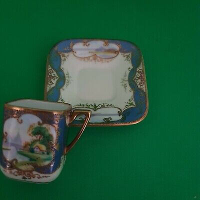 Square Exquisite Rare Noritake Hand Paintedgilded Pedestal Coffee Can And Saucer • 19.99£