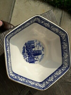 Ringtons Six Sided Blue & White Bowl Made By Wade Featuring Abbeys And Castles • 14.99£