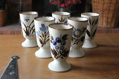 Six Vintage Glazed Ceramic Goblets With Individual Hand Painted Stylised Flowers • 10£