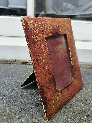 Antique Maroon Leather Gold Gilt Front Photo Picture Frame 4 3/4  W X 6 1/8  D  • 29.95£