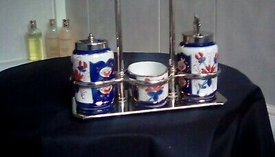 Welsh Gaudy Vintage Cruet Set,very Good Condition,no Cracks,chips Or Fading, • 18£