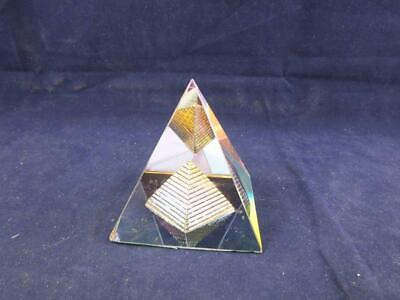 Crystal Esoteric Glass Egyptian Pyramid Ornament Paperweight. • 10.99£