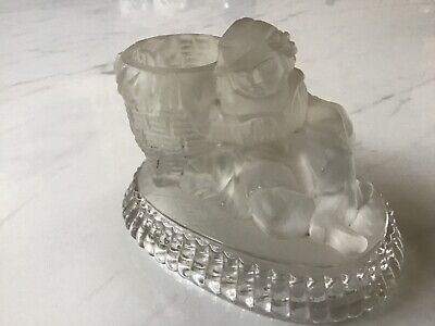Art Deco - Moulded Frosted Glass Match / Candle Holder • 18£