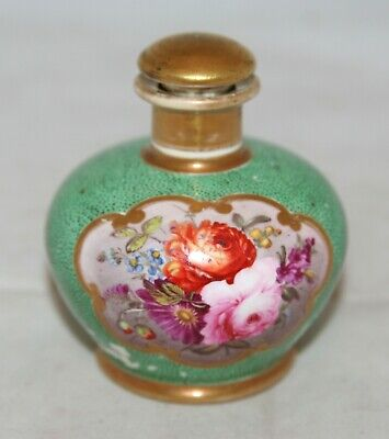 Antique Small Coalport Shagreen, Floral & Gilt Hand Painted Perfume/Scent Bottle • 49.99£