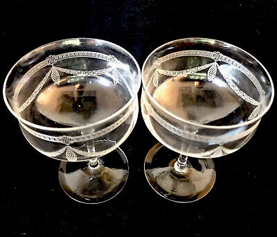 EXQUISITE PAIR Of EDWARDIAN CRYSTAL CHAMPAGNE SAUCERS/COUPES C1910 • 60£
