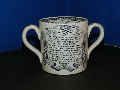 God Speed The Plough  Black & White Transfer Printed Farmer's Loving Cup • 25£