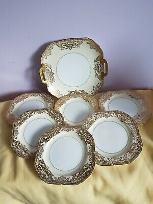 A Stunning Gold Encrusted Noritake Sandwich Plate & 6 Small Plates White & Cream • 14.99£