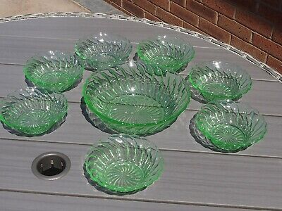 Art Deco Green Glass Fruit Salad Set With Large Bowl And Seven Dishes • 4.99£