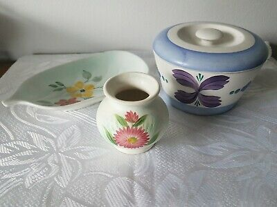 Art Deco E Radford Burslem Hand Painted Floral Lidded Pot, Vase & Dish • 9.99£