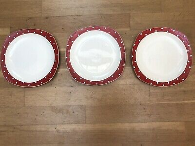 3 X Vintage Midwinter Red Domino 19 Cm/ 7.5  Plates • 9.95£