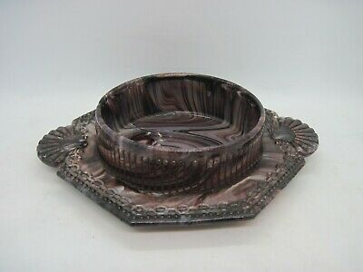 Sowerby/ Davidson? Victorian Purple Slag Glass Shell & Chain Decorated Dish Tray • 24.99£