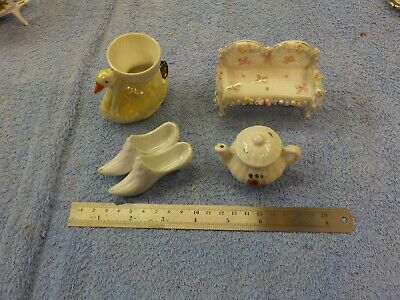 Old Unbranded Pottery/China 4 Small Pieces • 10£