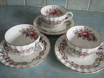 3 X Royal Worcester Bournemouth Pattern Cups And Saucers, • 26£