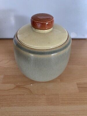 DENBY FIRE - Yellow/Green COVERED SUGAR BOWL V.G.COND • 6.90£