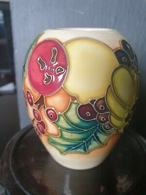 % Ltd Edition % Moorcroft  Christmas Bounty  Vase. By Kerry Goodwin.2002. Boxed. • 100£