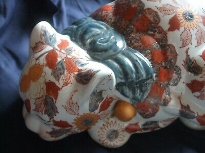 Chinese Famille Rose Hand Painted Large Ceramic Sleeping Cat C1900 • 48£