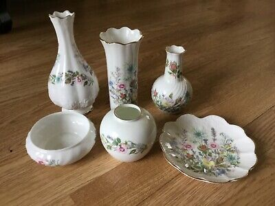 Collection Lot Of 6 Aynsley Wild Tudor Pottery Vases Dish & Plate • 6£