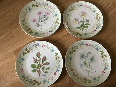 Set Of 4 Aynsley Pottery Wild Tudor Flowers Of Old England Plates • 0.99£