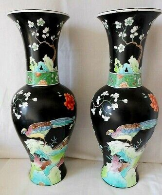 Antique Tuscan China, Pair Of Large Kang He Vases, Birds & Flowers, Art Nouveau • 125£