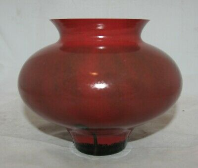 Vintage Red Flambe Style Squat Glass Vase • 0.99£