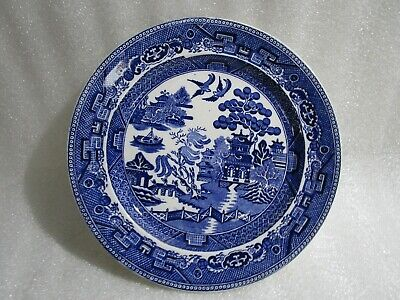Vintage 1900's Antique Crown Pottery Willow Pattern Dinner Plate, Excellent • 8.97£