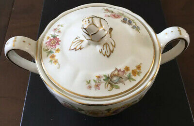 Antique Large Marlbourgh  Porcilen Sugar Bowl Wih Lid Approx 6 1/4 Inches Long  • 1.99£