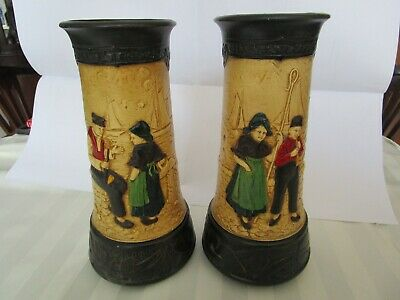 Pair Bretby Zuyder Zee Pottery Vases • 23£